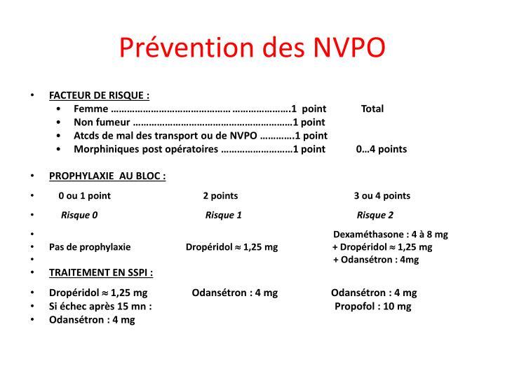 Prévention des NVPO