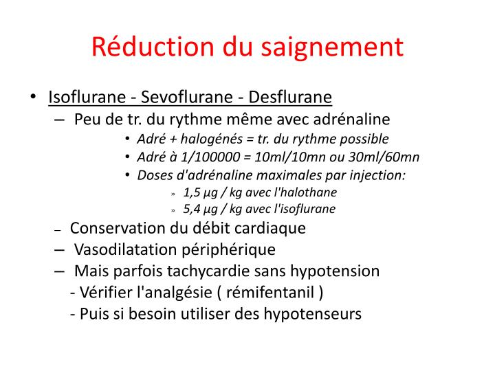 Réduction du saignement