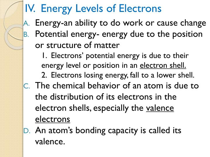 IV.  Energy Levels of Electrons