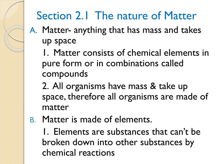 Section 2 1 the nature of matter