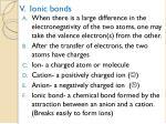 v ionic bonds