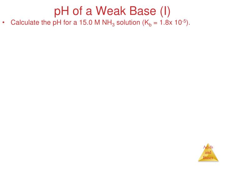 pH of a Weak Base (I)