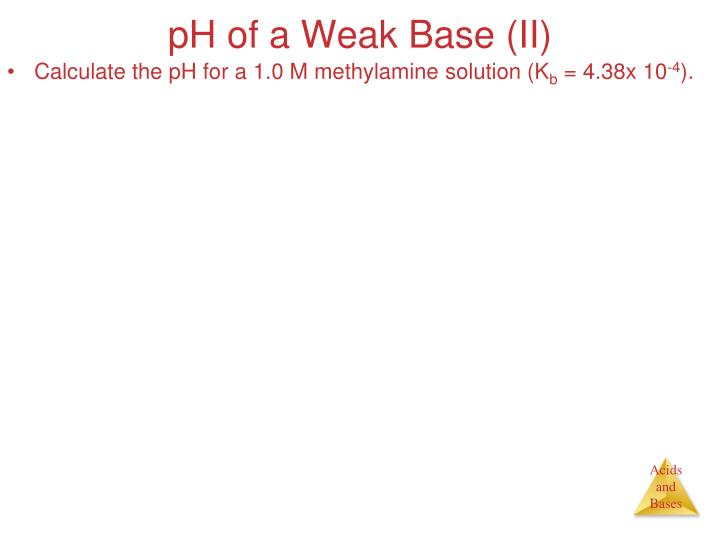 pH of a Weak Base (II)