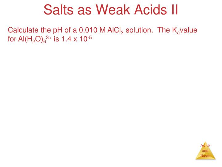 Salts as Weak Acids II
