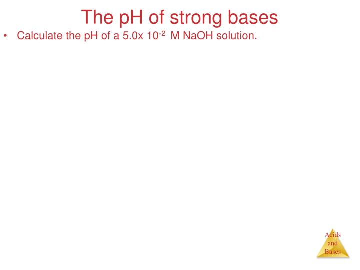 The pH of strong bases