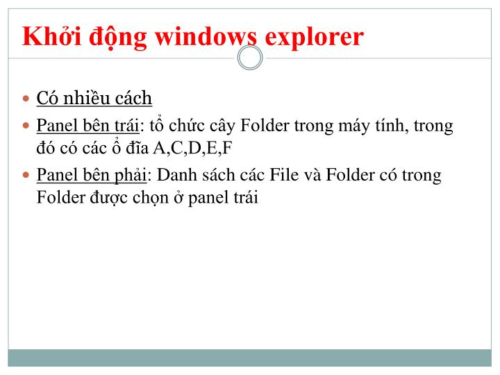 Khởi động windows explorer