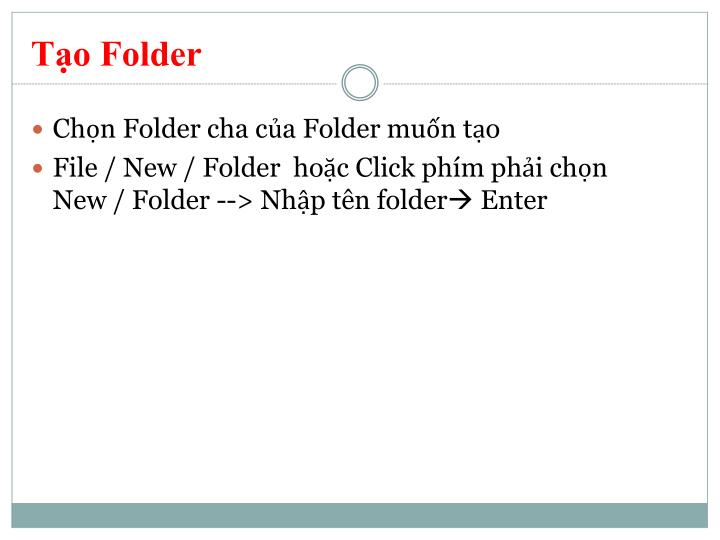 Tạo Folder