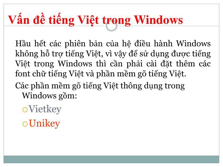Vấn đề tiếng Việt trong