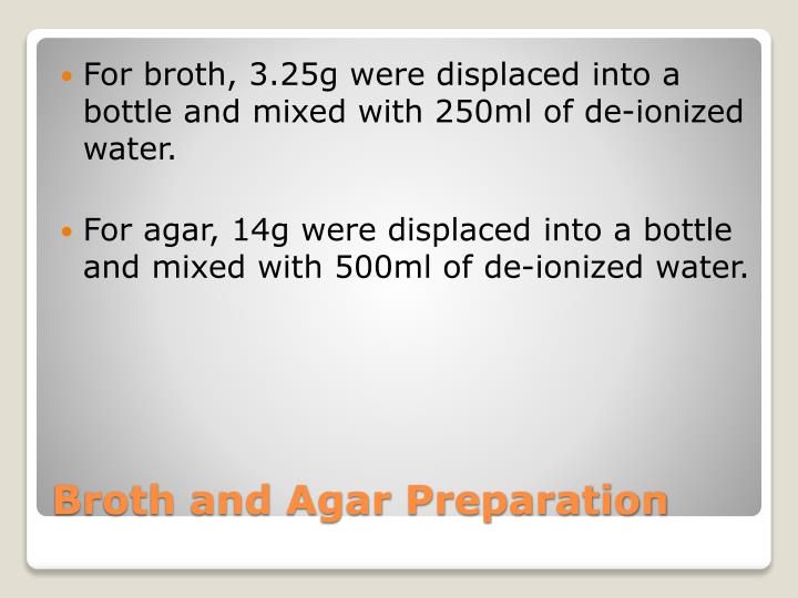 For broth, 3.25g were displaced into a bottle and mixed with 250ml of de-ionized water.