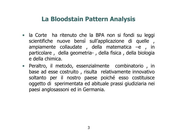 La bloodstain pattern analysis1