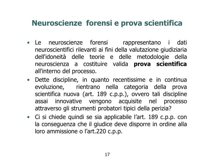Neuroscienze  forensi e prova scientifica