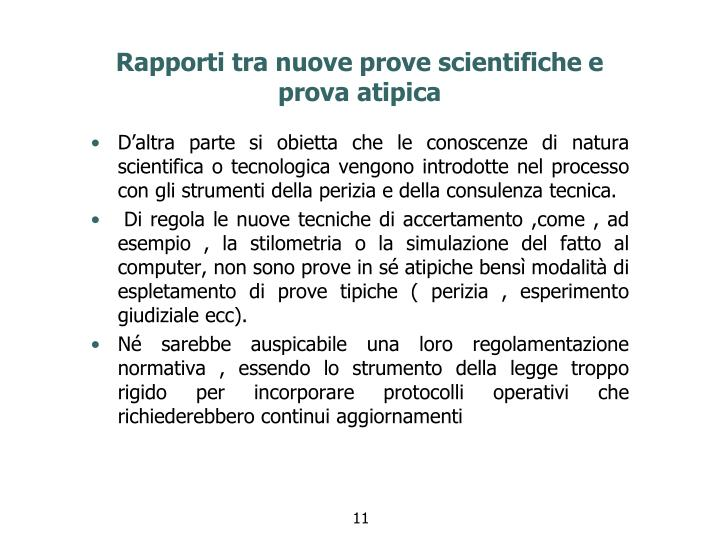 Rapporti tra nuove prove scientifiche e prova atipica