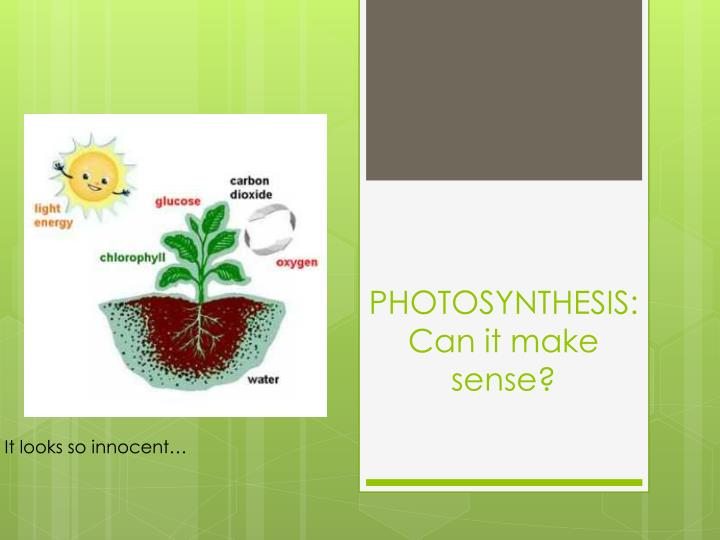 Photosynthesis can it make sense