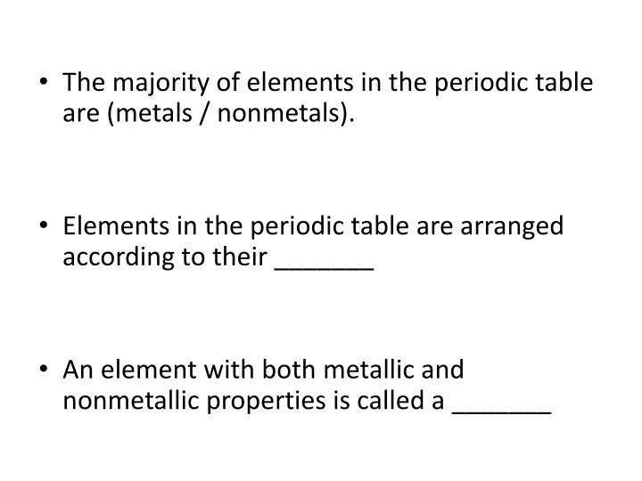 The majority of elements in the periodic table are (metals / nonmetals).