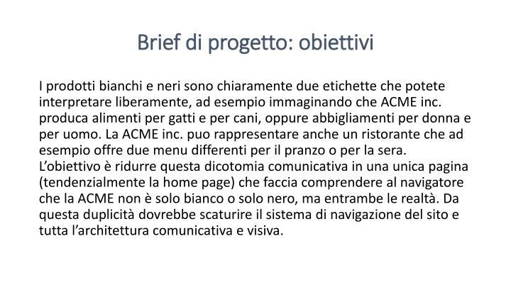 Brief di progetto: obiettivi