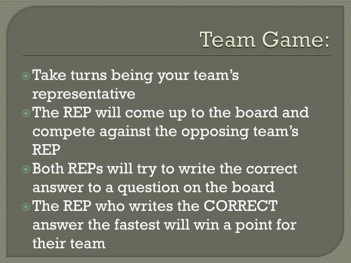 Team Game: