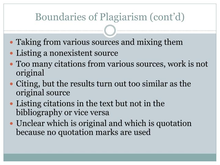Boundaries of Plagiarism (cont'd)