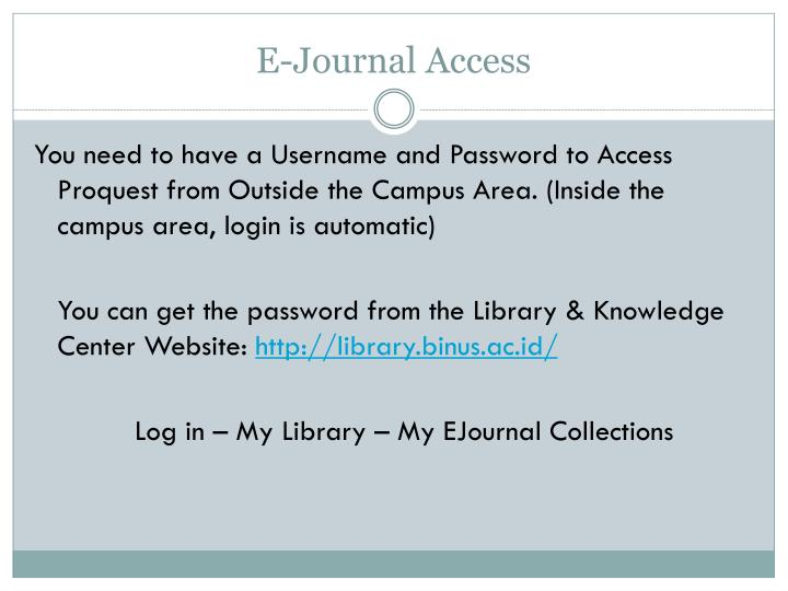 E-Journal Access