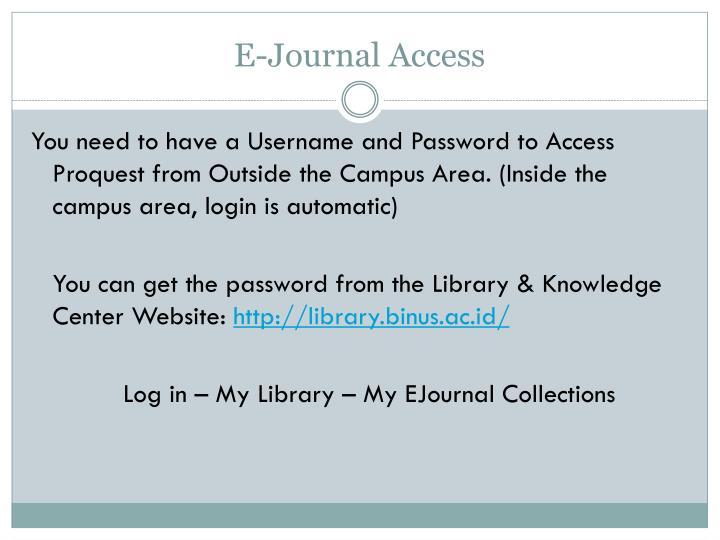 E-Journal Access