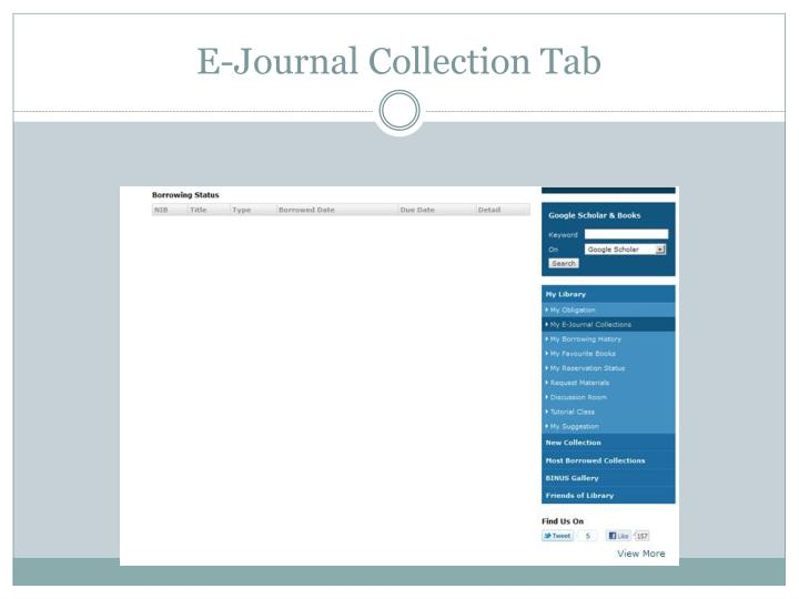 E-Journal Collection Tab