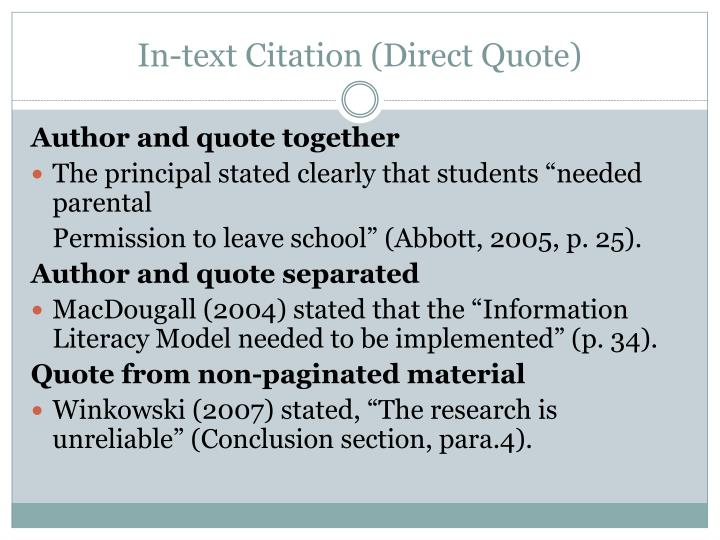 In-text Citation (Direct Quote)