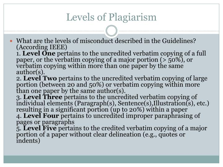 Levels of Plagiarism