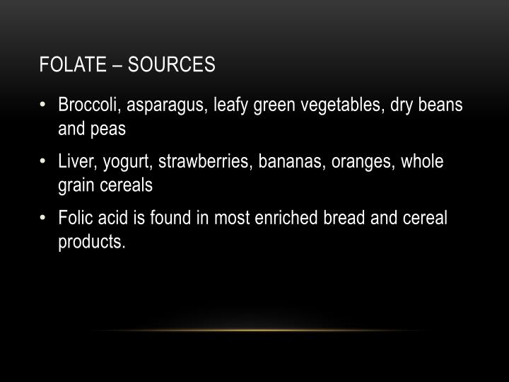Folate – sources