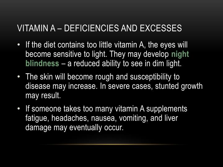 Vitamin a – deficiencies and excesses
