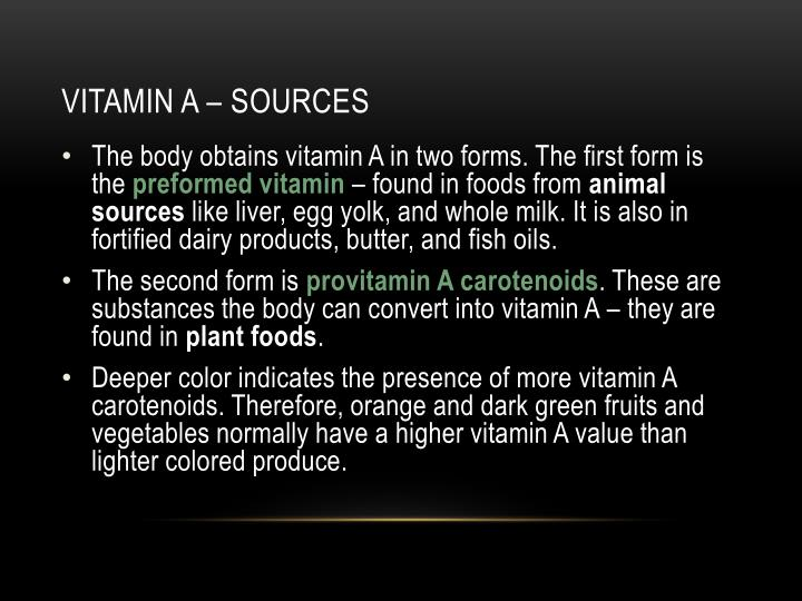 Vitamin A – sources