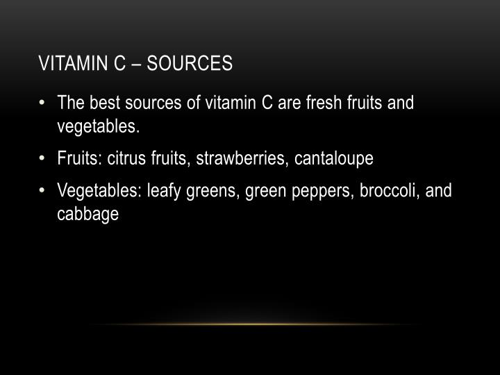 Vitamin c – sources