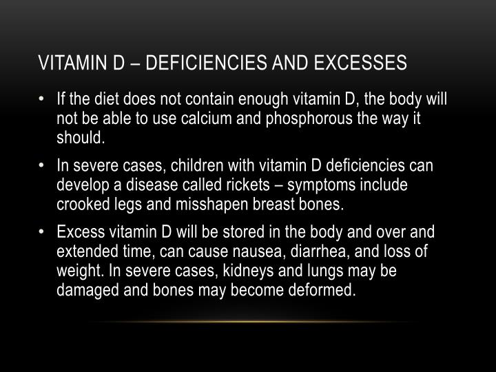 Vitamin d – deficiencies and excesses