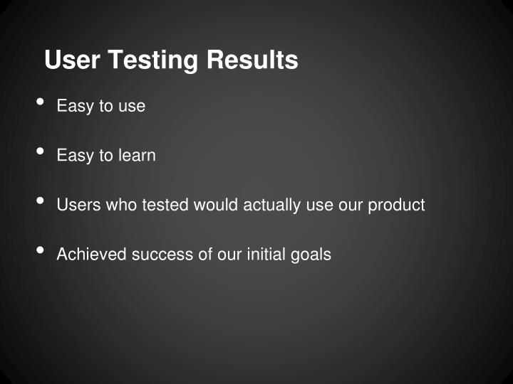 User Testing Results