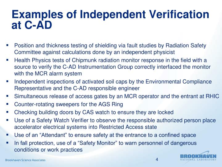 Examples of Independent Verification at C-AD