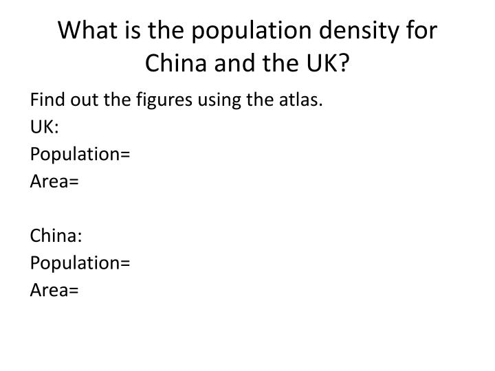 What is the population density for china and the uk