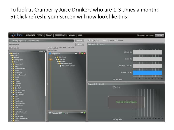 To look at Cranberry Juice Drinkers who are 1-3 times a month: