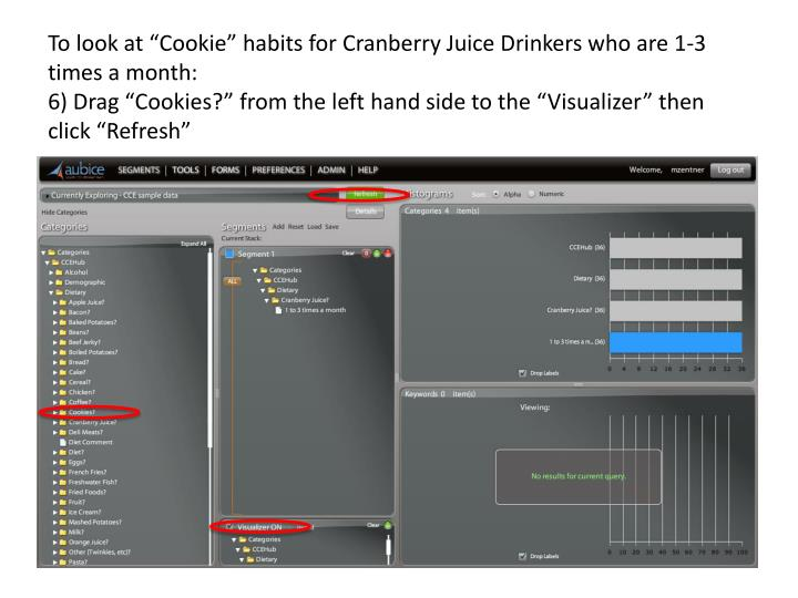 "To look at ""Cookie"" habits for Cranberry Juice Drinkers who are 1-3 times a month:"