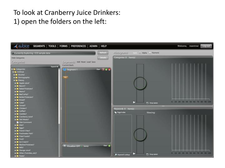 To look at cranberry juice drinkers 1 open the folders on the left