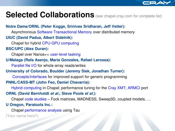 Selected Collaborations