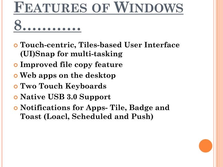 Features of Windows 8…………