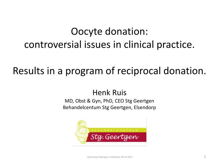 Oocyte donation: