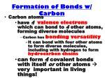 formation of bonds w carbon