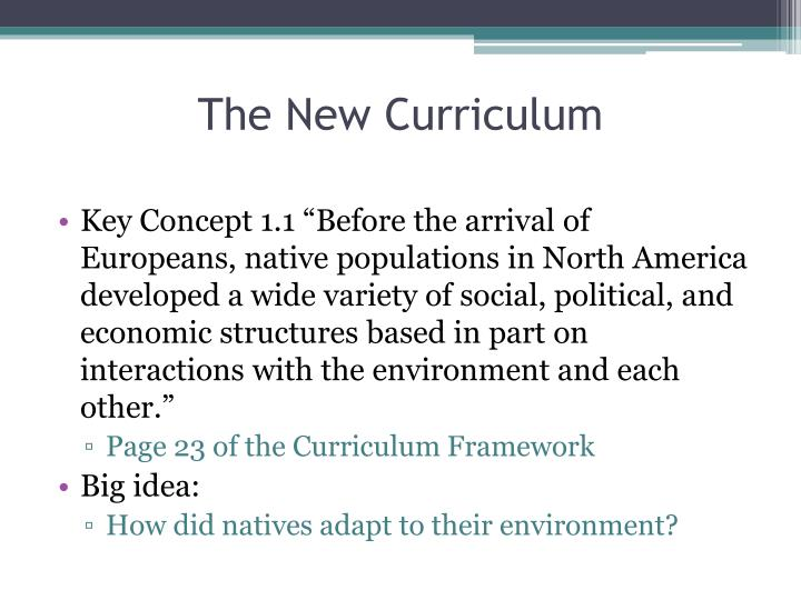 The new curriculum