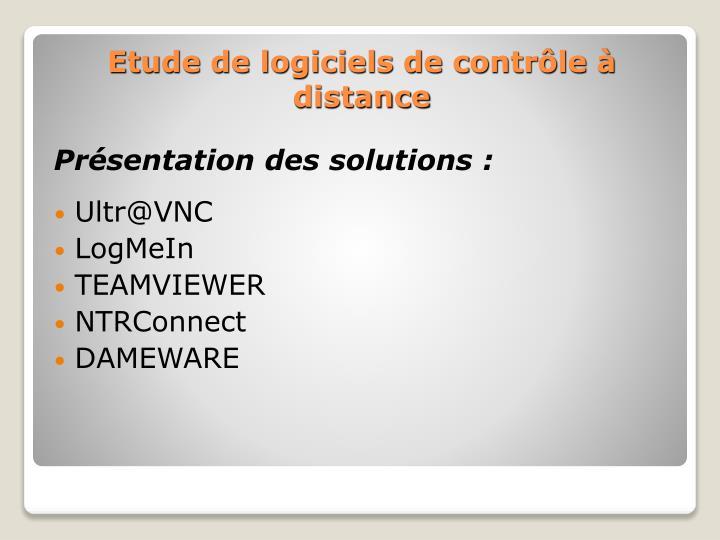 Présentation des solutions :