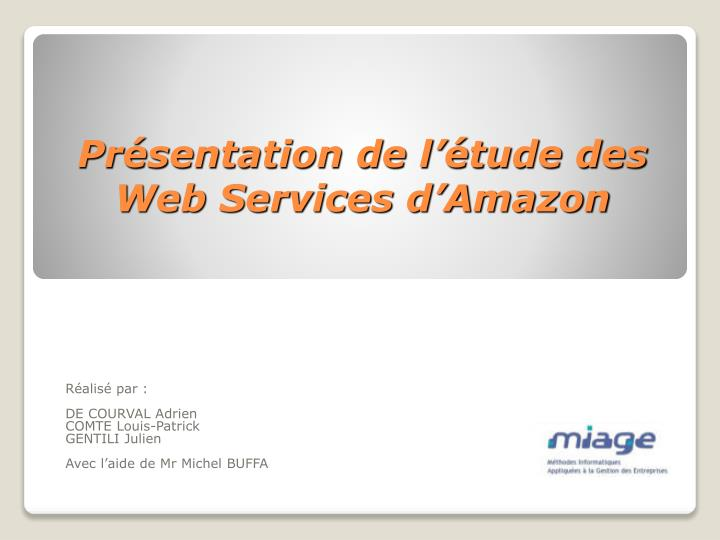 Pr sentation de l tude des web services d amazon