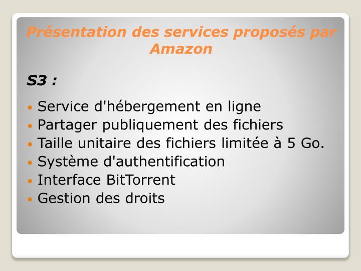 Présentation des services proposés par Amazon