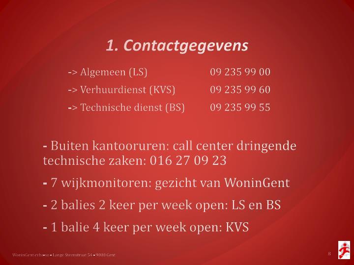 1. Contactgegevens