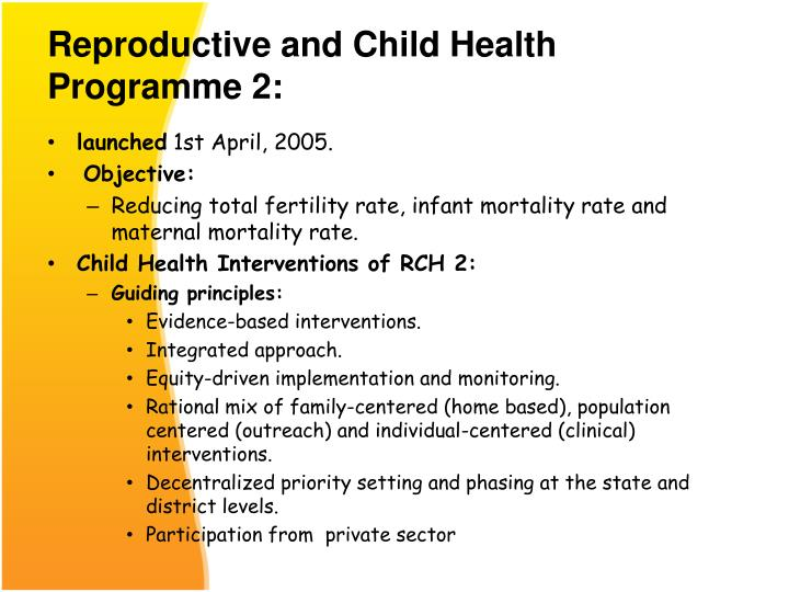 Reproductive and Child Health Programme 2: