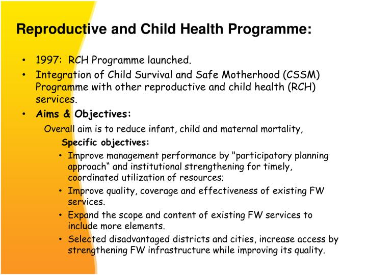 Reproductive and Child Health Programme: