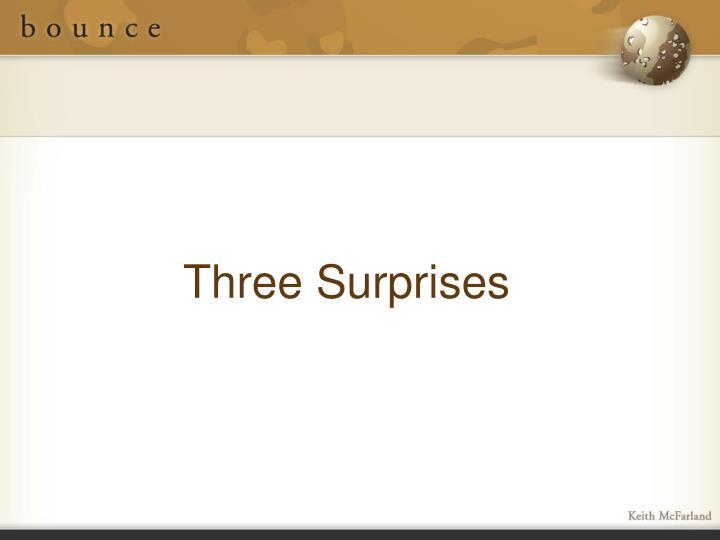 Three Surprises