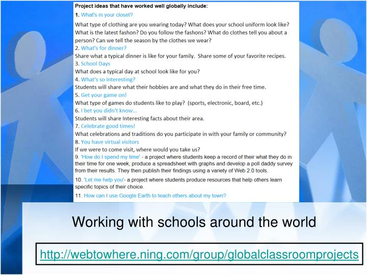 Working with schools around the world